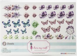 Dress My Crafts Fussy Cutting Image Sheet 240gsm A4 2/Pkg - Pink Smoke
