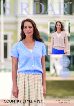 Long and Short Sleeved Cardigans in Sirdar Country Style 4Ply - 7887 - Downloadable PDF
