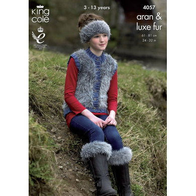 Jacket, Gilet, Boot Toppers, Hat and Headband in King Cole Aran and Luxe Fur - 4057