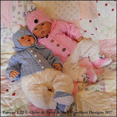 "Cabled Pram Suit 16-22"" doll/newborn/0-3m baby"