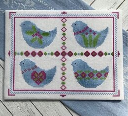 Luhu Stitches Blue Bird Sampler - Downloadable PDF