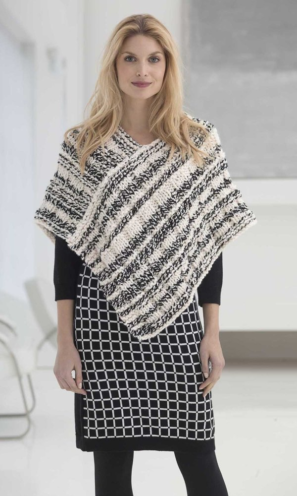 Newsprint Poncho in Lion Brand Wool-Ease Thick & Quick ...