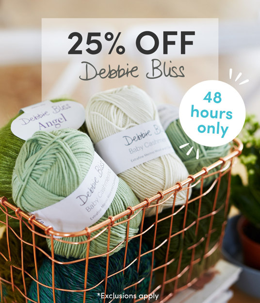 25 percent off Debbie Bliss for 48 hours only. Exclusions apply.