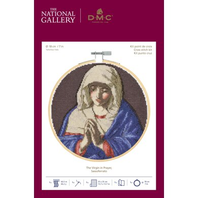 DMC The National Gallery - The Virgin in Prayer Cross Stitch Kit (with 7in hoop) - 7in