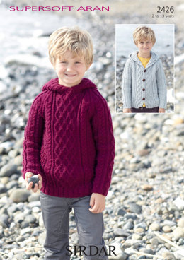 Boys Sweater and Cardigan with Hoods in Sirdar Supersoft Aran - 2426