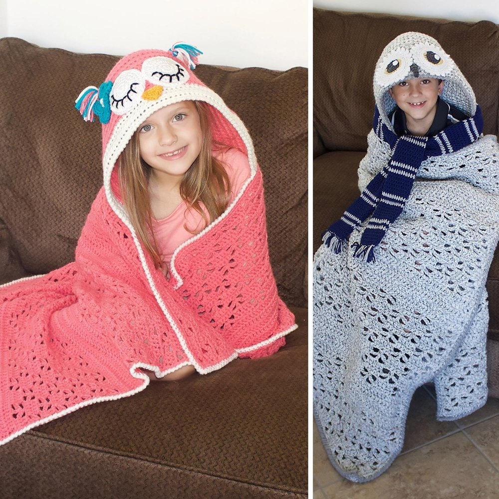 Hooded Owl Blanket Crochet Pattern By Joni Memmott