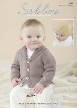 Boys Cardigan and Hat in Sublime Baby Cashmere Merino Silk 4 Ply - 6117 - Leaflet