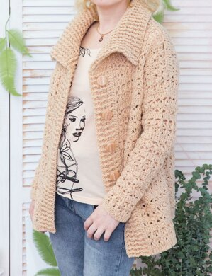 Warm cardigan with front buttons