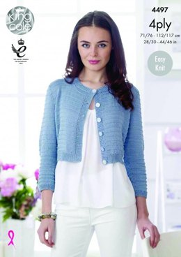 Sweater and Cardigan in King Cole Giza Cotton 4ply - 4497