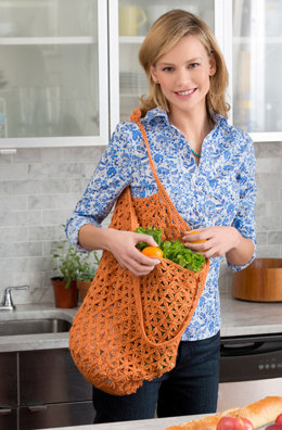 Lacy Crochet Market Bag in Red Heart Luster Sheen Solid - LW3575 - Downloadable PDF
