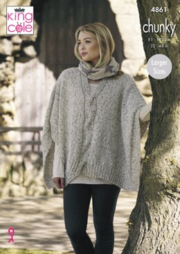 Ladies Ponchos in King Cole Indulge Chunky - 4861 - Downloadable PDF