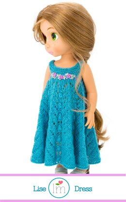 Lise dress for 16 inch Disney Animators Dolls. Doll Clothes Knitting Pattern.