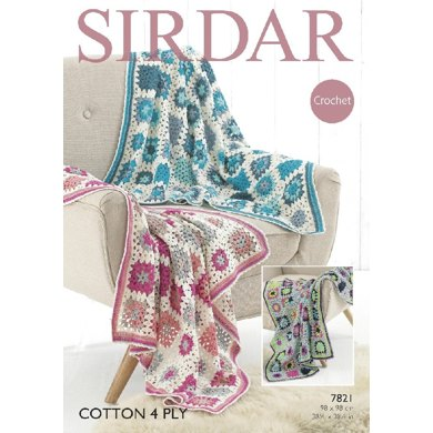 Throws in Sirdar Cotton 4 Ply - 7821 - Downloadable PDF