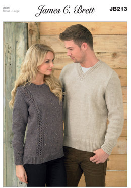 Ladies and Men's Sweaters in James C. Brett Rustic with Wool Aran - JB213