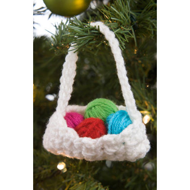Crochet Basket Ornament in Red Heart Super Saver Economy Solids - LW4822 - Downloadable PDF