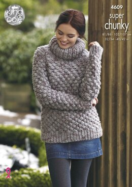 Sweater & Coatigan in King Cole Big Value Super Chunky Twist - 4609