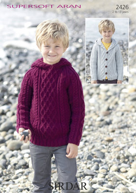 Hooded Cable Sweater & Cable Cardigan in Sirdar Supersoft Aran - 2426