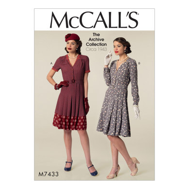 McCall's Misses' Inverted Notch-Collar Shirtdresses and Belt M7433 - Sewing Pattern