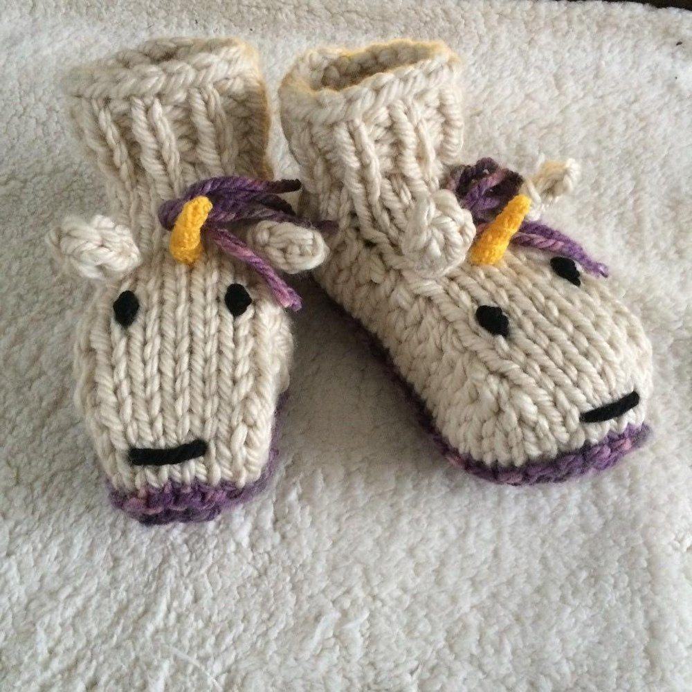 Adult Unicorn Socks Slippers Knitting Pattern By Emma Whittle