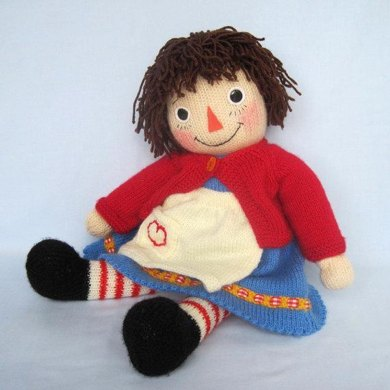 Merrily Ann Raggedy Ann Knitted Doll Knitting Pattern By