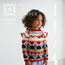 """ Alice Frill Jumper "" - Jumper Knitting Pattern For Girls in MillaMia Naturally Soft Merino by MillaMia"