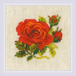 Riolis Red Rose Cross Stitch Kit - 13cm x 13cm