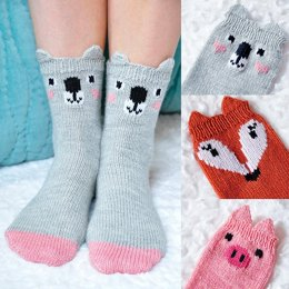 Pawsome Pals Koala, Fox, and Pig Animal Socks