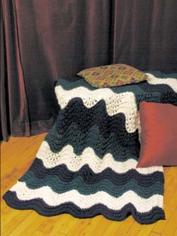Knit Preppy And Vineyard Ripple Knit Afghan In Lion Brand