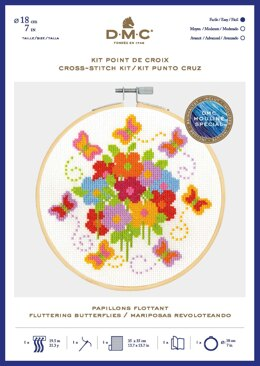 DMC Fluttering Butterflies Cross Stitch Kit (with 7in hoop)
