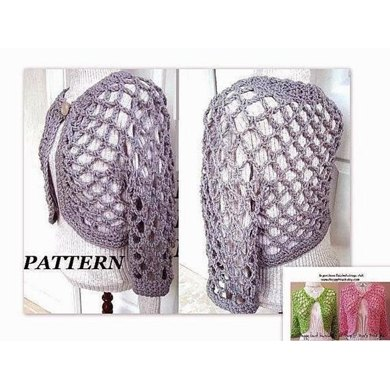 134 OPEN WEAVE SHRUG, crochet pattern