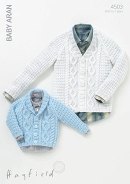 Cardigans in Hayfield Baby Aran - 4503 - Downloadable PDF
