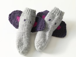 Knit Child's Elephant Socks in Lion Brand Wool-Ease