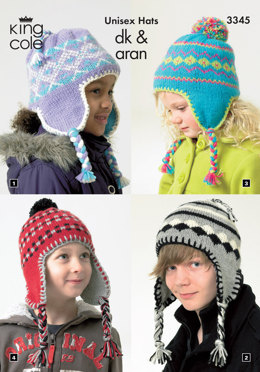 Children's Unisex Hats in King Cole DK and Aran - 3345