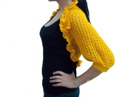 Shrug with Sleeves and removable floral Brooch