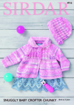 Matinee Jacket & Bonnet in Sirdar Snuggly Baby Crofter Chunky - 4916 - Downloadable PDF