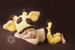 Baby Giraffe Hat Pants Diaper Cover - Bailey Set