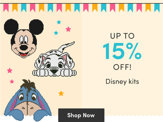 Up to 15 percent off Disney stitching kits!