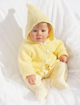 Hooded Baby Jacket in Bernat Softee Baby Solids