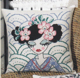 Permin Geisha in Blue Cushion Front Cross Stitch Kit