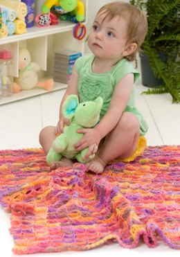 Broomstick Lace Baby Blanket in Red Heart Super Saver Economy Prints - LW2190
