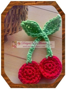 Crochet Cherries Applique Pattern Ornament For Holidays And Christmas