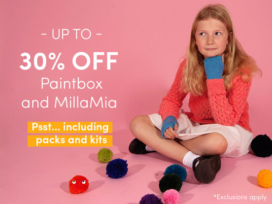 Up to 30 percent off selected Paintbox & MillaMia yarns - including packs and kits!