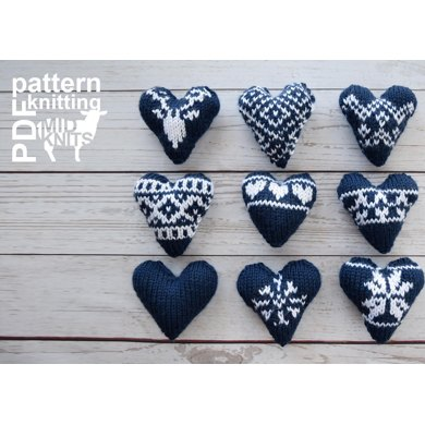 Knit Fair Isle Hearts Knitting pattern by Midknits