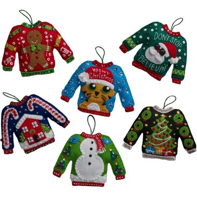 Bucilla Felt Ornaments Applique Kit Set Of 6 - Ugly Sweater
