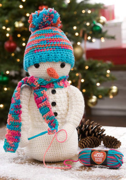 Crocheting Snowman in Red Heart Super Saver Economy Solids and Prints - LW4868 - Downloadable PDF