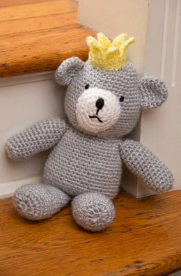 Birthday Bear for a Prince in Red Heart Soft Baby Steps Solids - LW4264