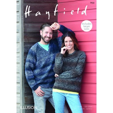 Round and V Neck Sweaters in Hayfield Illusion - 7933 - Downloadable PDF