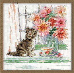 Design Works Curious Kitty Counted Cross Stitch Kit - 30.5 x 30.5cm