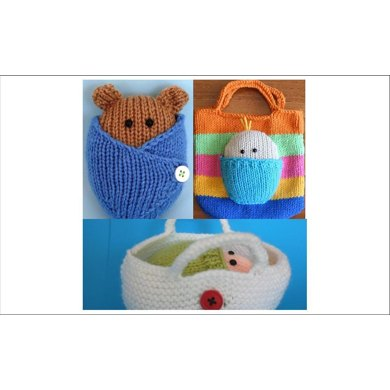 3 PATTERNS - Wrapped up baby and bear in basket AND blanket  AND Bag