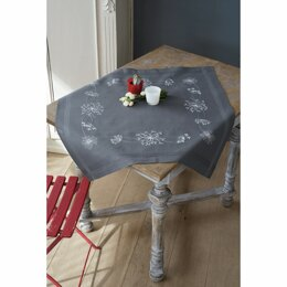 Vervaco White Flowers Embroidery Tablecloth Kit